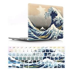 HRH 2 in 1 Sea Waves Laptop Body Shell Protective Hard Case