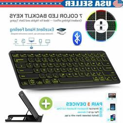 """10"""" Wireless Bluetooth Keyboard Colorful Backlit For iPad An"""