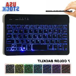 "10"" Wireless Bluetooth Keyboard Colorful Backlit For iPad An"