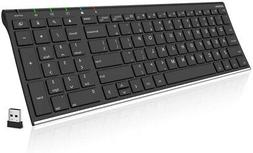 Arteck 2.4G Wireless Keyboard Stainless Steel Ultra Slim Ful