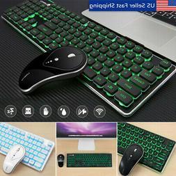 2.4G Wireless LED Light Backlit Silent Keyboard & Mouse Lapt