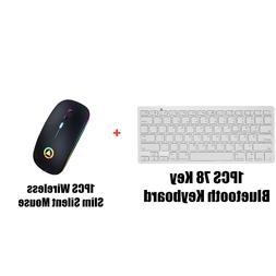78 Keys Bluetooth Keyboard + Slim LED Silent Wireless Black