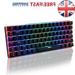82 Keys Wire Mechanical Keyboard RGB Backlit Black Switch fo