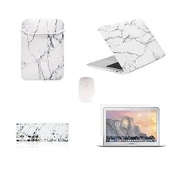 TOP CASE - 5 in 1 Marble Pattern Hard Case, Keyboard Cover,