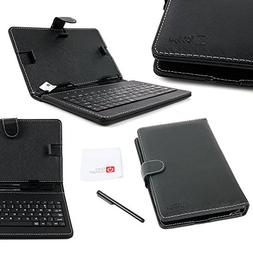 DURAGADGET Black Faux Leather Folio Micro USB QWERTY Keyboar