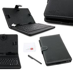 DURAGADGET Black Faux Leather Folio Micro USB QWERTY Keyboar