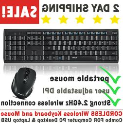 CORDLESS Wireless Keyboard and Mouse Combo FOR Computer PC D