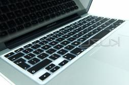 Kuzy EU/UK BLACK Keyboard Cover Silicone Skin for MacBook Pr