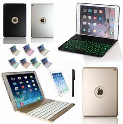 For iPad Air 1/2/3 Smart A/wake Book Case + 7 Colors Backlit