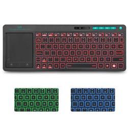 Rii K18 Wireless 3-LED Color Backlit Multimedia Keyboard for