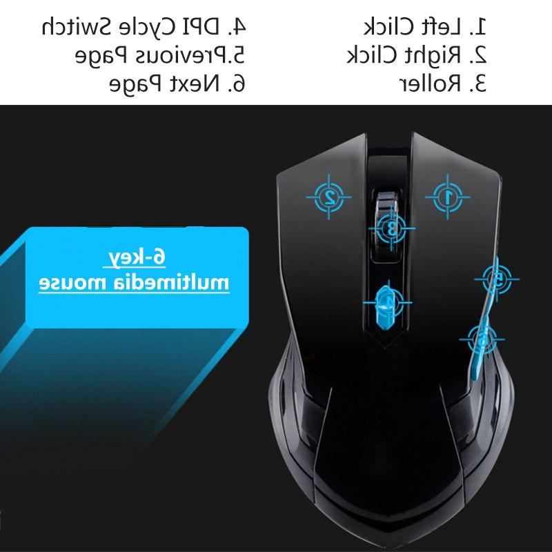 2.4G <font><b>Wireless</b></font> <font><b>Gaming</b></font> Mouse Combos Sleep Adjustable 10m USB