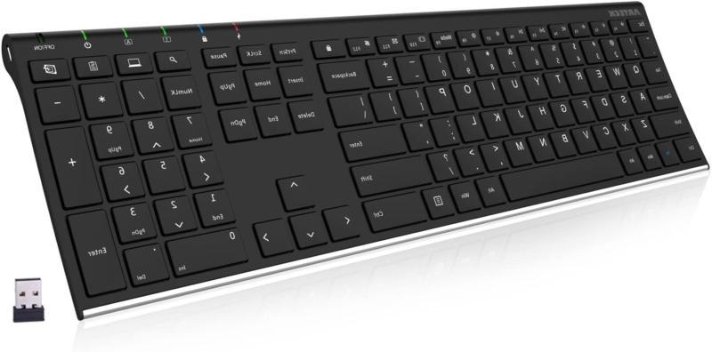 2.4G Wireless Keyboard Stainless Steel Ultra Slim Full Size