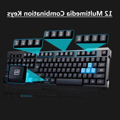 2.4GHz Wireless Gaming Keyboard And Mouse Set Bundle 6 Key F