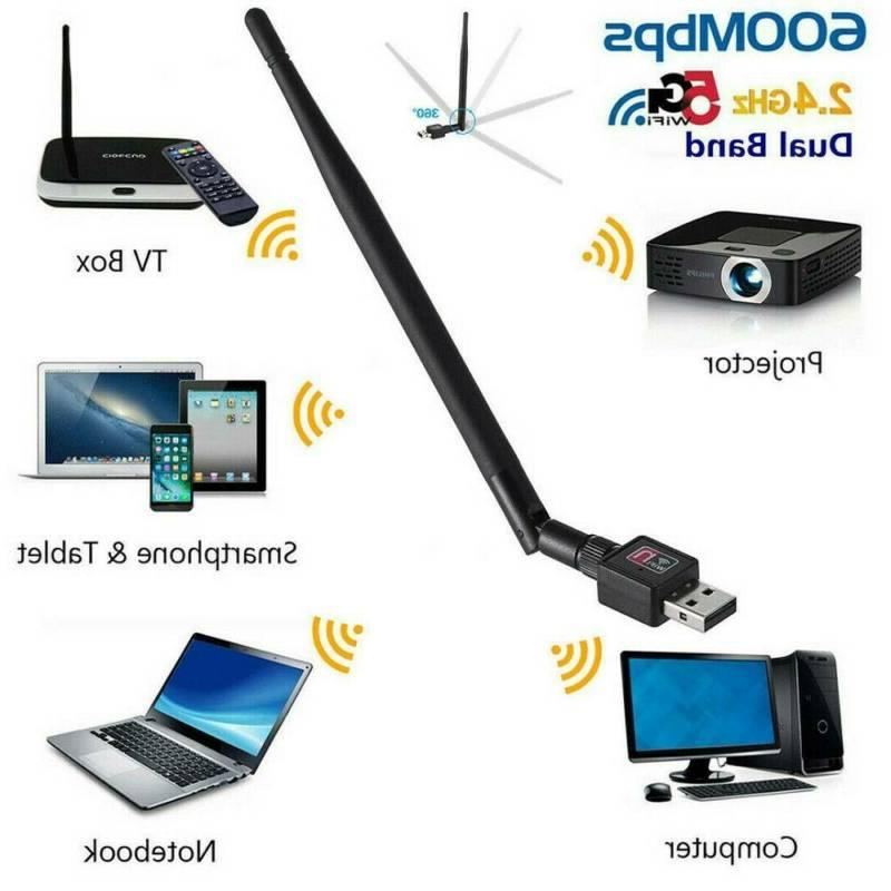 600Mbps Wireless USB Adapter Dongle Network LAN Card w/Antenna