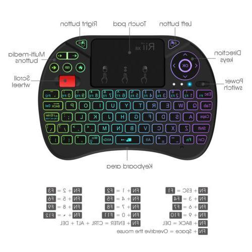 8 RGB Backlit Mini Keyboard X8 for Pi