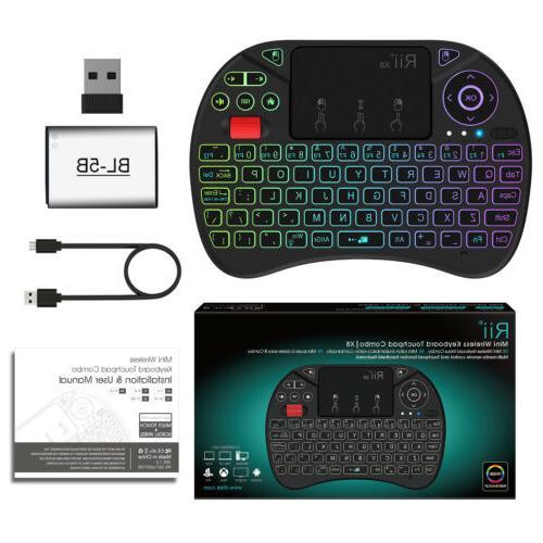 8 Color RGB Backlit Mini Wireless Keyboard Rii X8 Remote for Pi