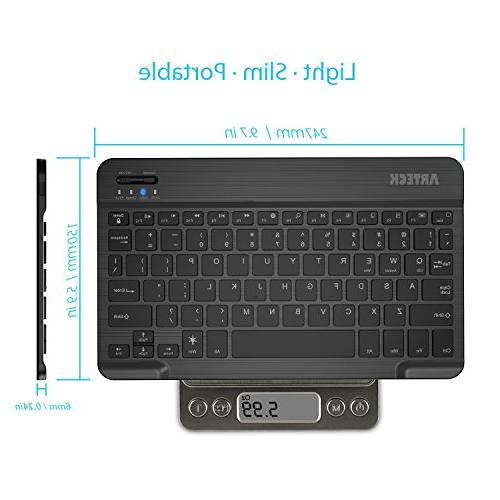 Arteck HB030B Universal Slim Portable Bluetooth 7-Colors Keyboard with Built in Rechargeable Black