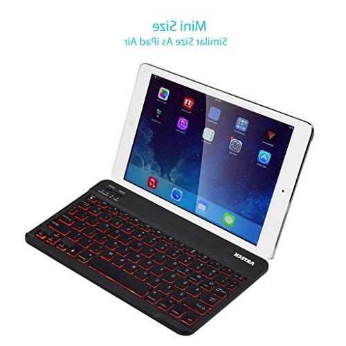 Arteck Universal Portable Bluetooth 7-Colors Backlit Keyboard Built Battery, Black