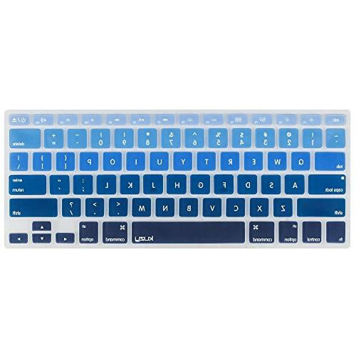 Kuzy - BLUE Ombre Colors Keyboard Cover Silicone Skin for Ma