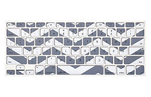 "Kuzy Gray Chevron Zig-Zag Keyboard Cover for MacBook Pro 13"""