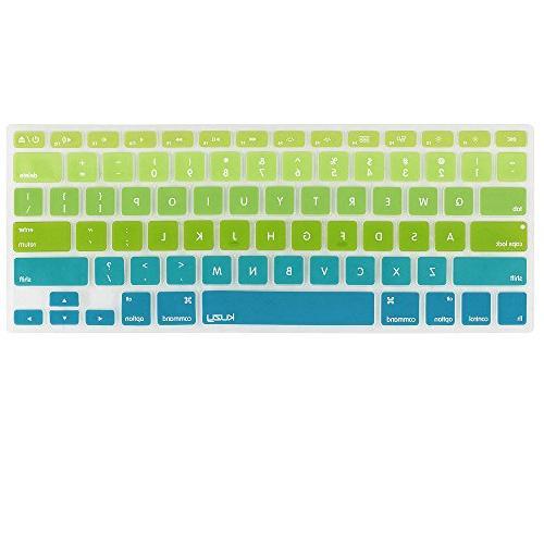 Kuzy Green/Aqua Ombre Colors Keyboard Cover Silicone Skin fo