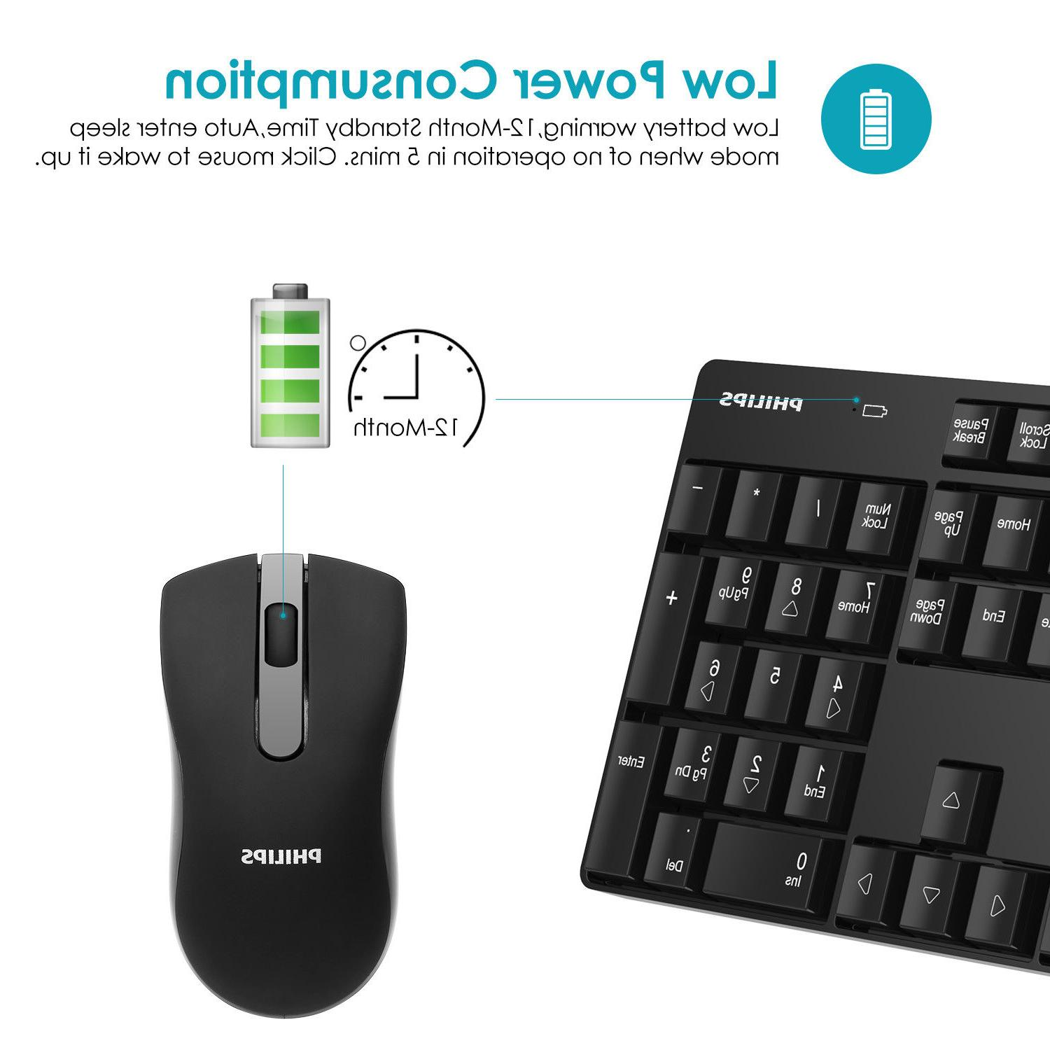 Philips USB Wireless Keyboard Mouse for Laptop