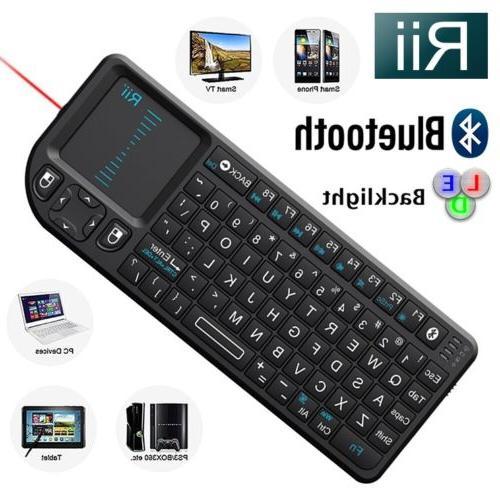 Rii Mini Wireless Bluetooth Keyboard Touchpad with Laser Poi