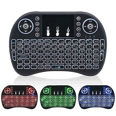 2.4G Backlit Mini Wireless Keyboard Remote Controls Touchpad