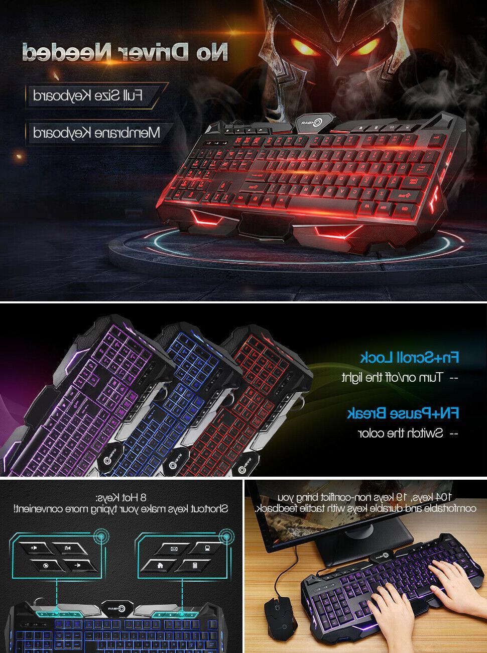 Backlit Adjustable 3 Colors Gamer Keyboard