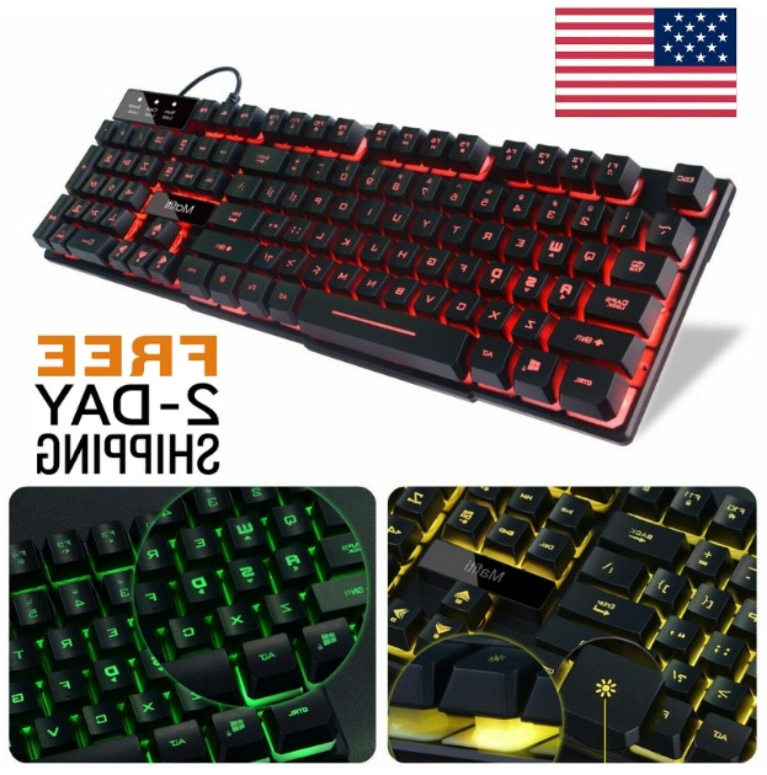 backlit keyboard gaming computer pc mac wired