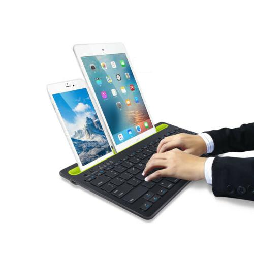 Bluetooth Keyboard Cordless With Phone Tablet Holder Docking