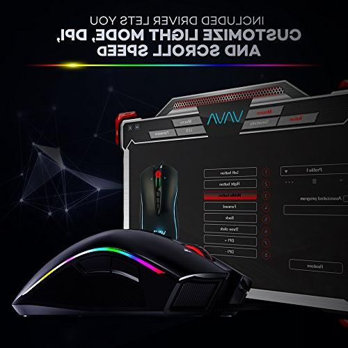 VAVA Gaming Mouse with 16.8 Million Color Mechanical Design