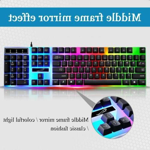 Computer Desktop Keyboard and Mechanical Led Light Backlit