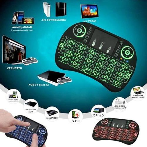 2.4GHz Mini Wireless Keyboard LED Backlight Remote Control f