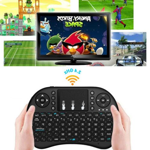 i8 2.4Ghz Mini Wireless Keyboard Remote Controls Touchpad Bl