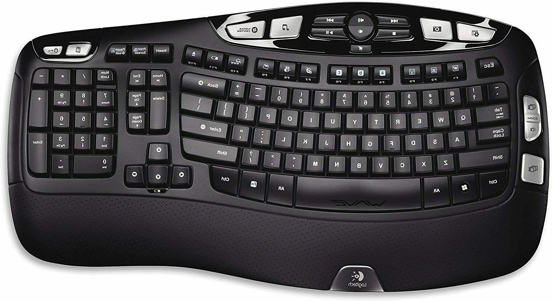 Logitech K350 Wireless Wave Keyboard with Technology - Black