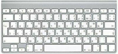 keyboard wireless non numeric bluetooth silver russian