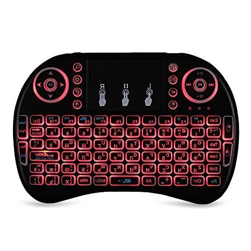 Mini wireless mouse set backlit keyboard multi-language three-color