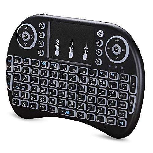 Mini wireless mouse set backlit keyboard supports multi-language three-color Russian