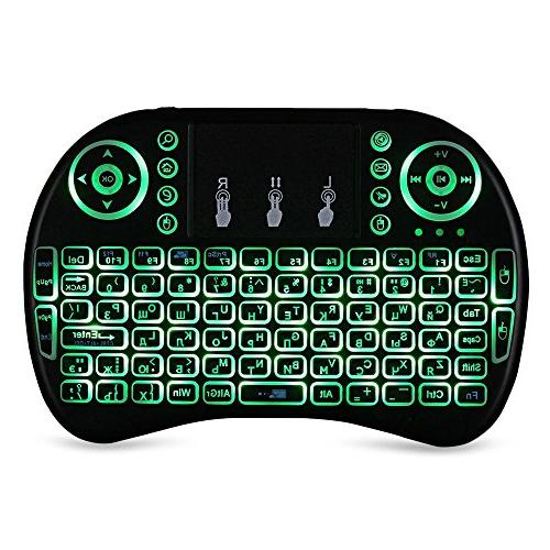 Mini keyboard mouse set USB wireless backlit multi-language three-color backlight Russian