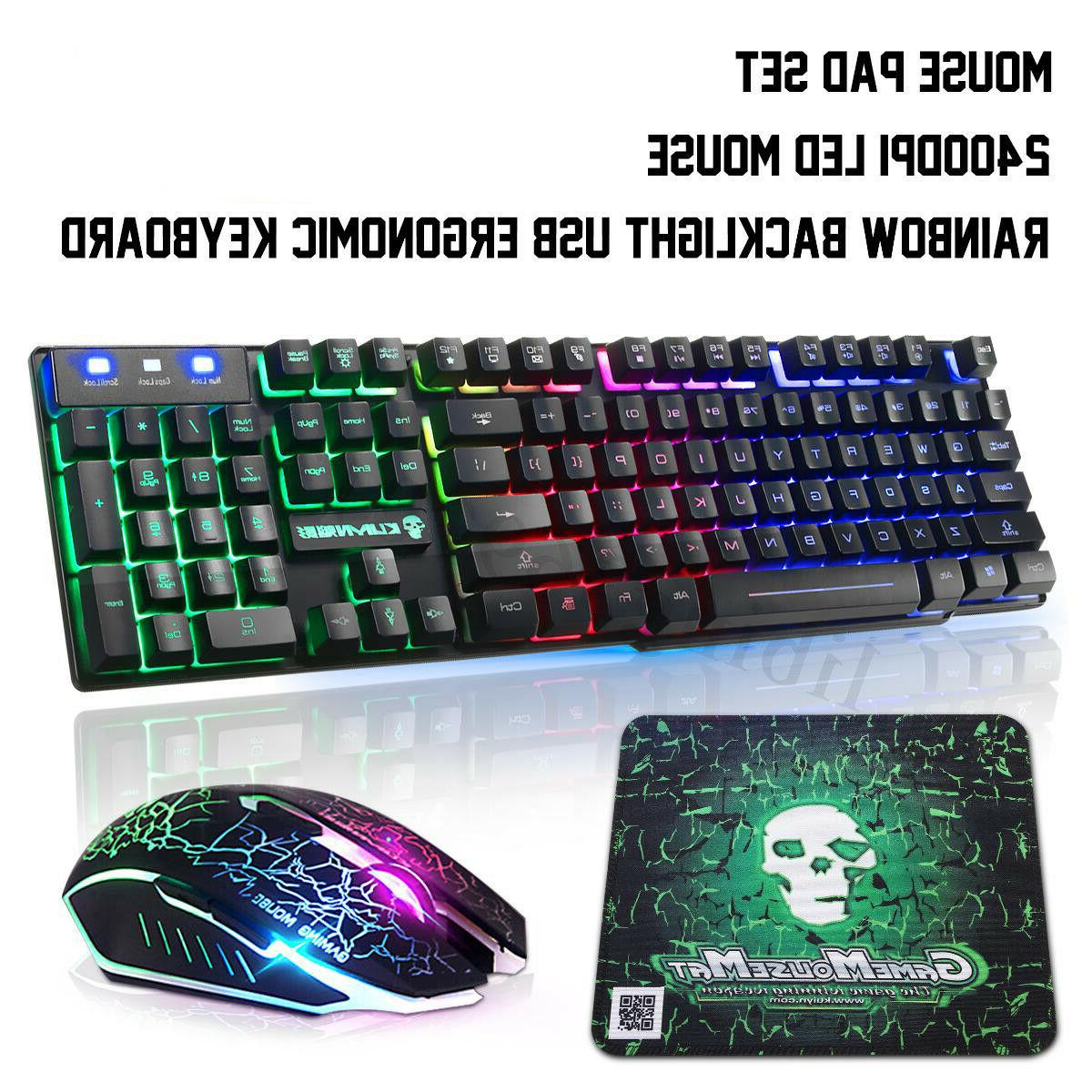 RGB Backlit Keyboard & Mouse Kit 3 Colour Rainbow LED Illumi