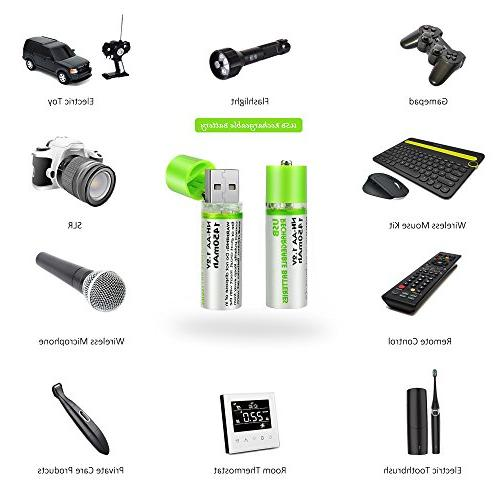 2 Pack with USB Charging Port 1450mAh for Mouse, Flashlight, Gamepad, Electric Toy