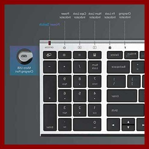 Rechargeable Wireless Keyboard Combo 2.4Ghz Ultra Slim Compact F
