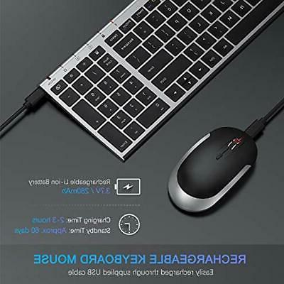 Rechargeable Wireless Keyboard Mouse Combo, 2.4GHz Slim Compact Full Size