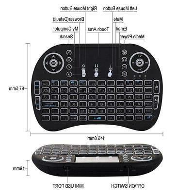 2.4G Backlit Mini Wireless Keyboard Remote Controls Touchpad