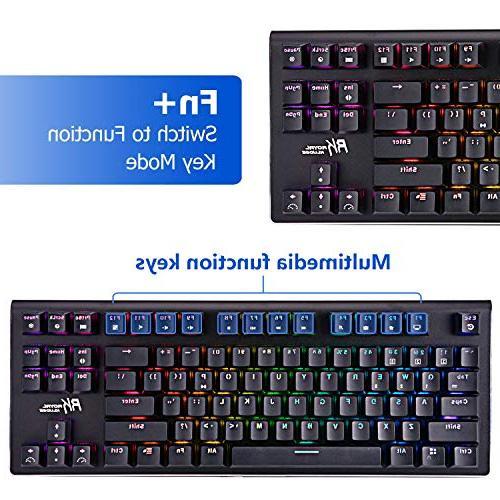 RGB Mechanical Keyboard RGB Backlit Bluetooth 3.0 Multi-Media Mechanical Gaming for Brown Switch