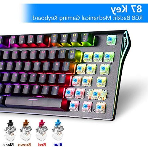 RGB RGB LED Wireless Bluetooth 3.0 Multi-Media Gaming Keyboard for Battery) Brown Switch