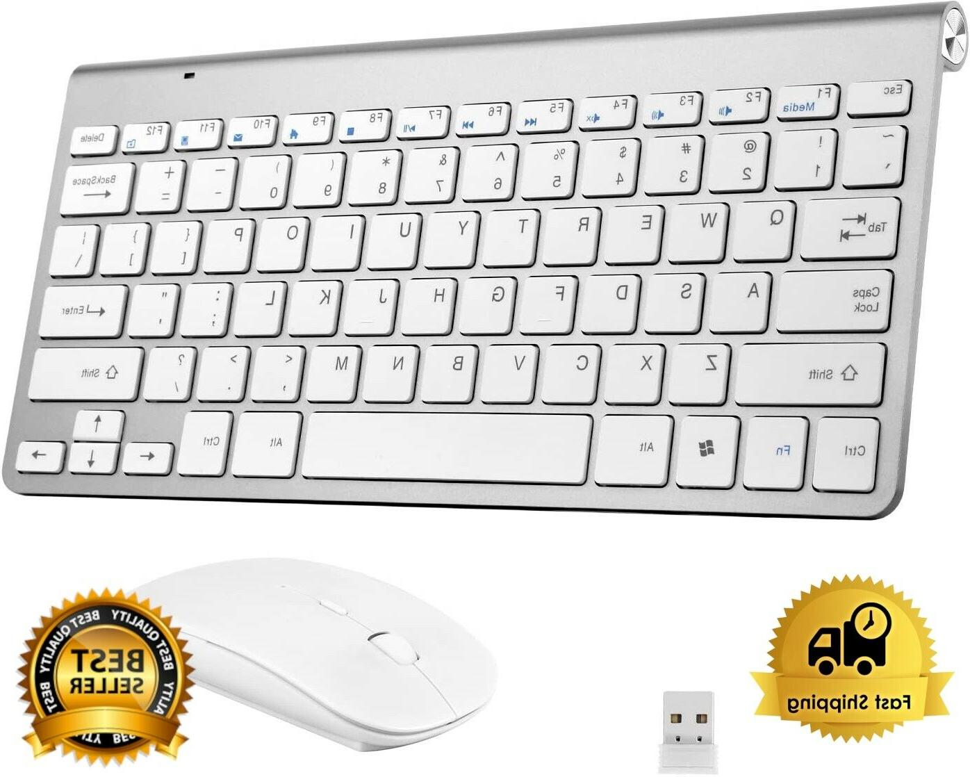 silver white wireless keyboard and mouse bundle