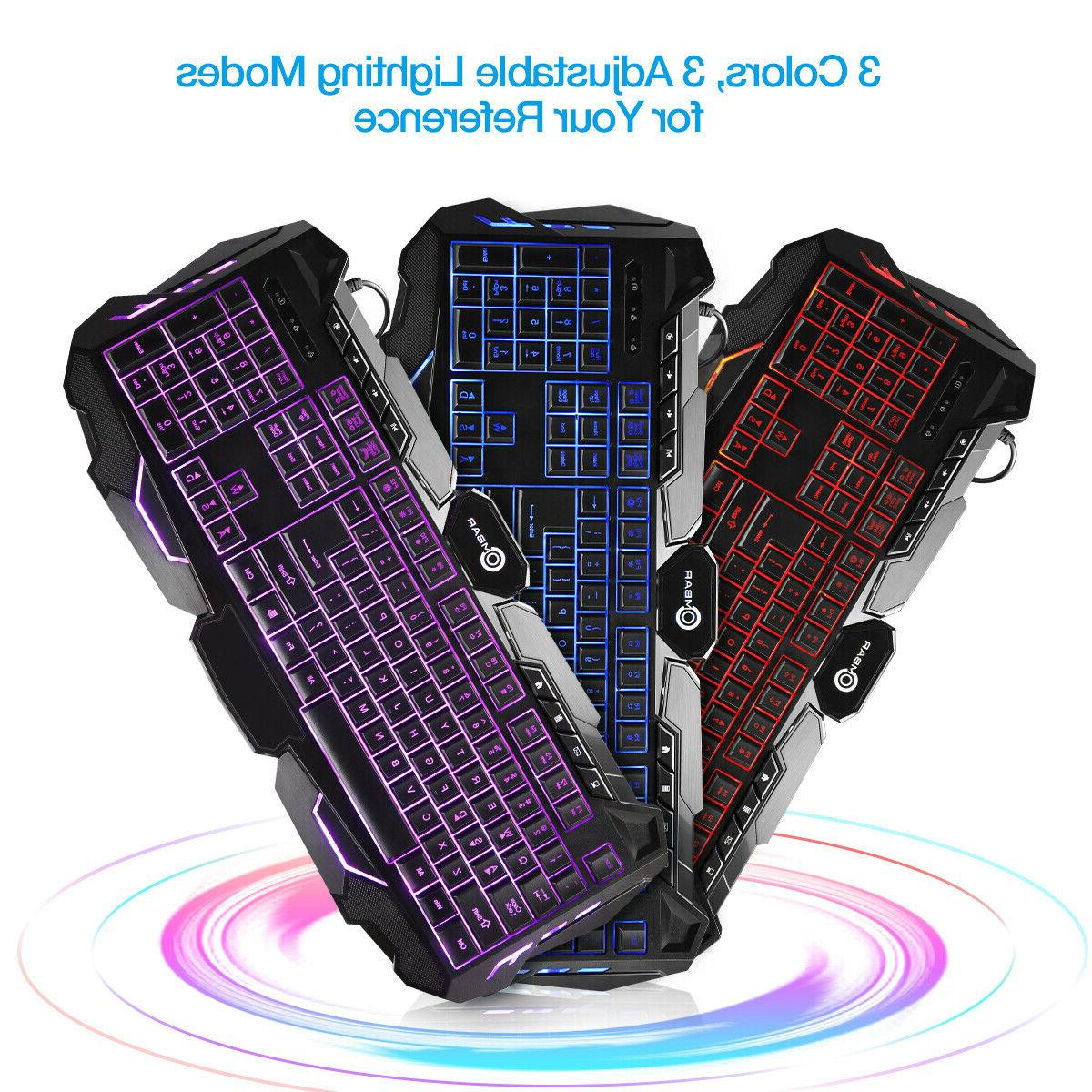 RGB Backlit Gaming Keyboard Adjustable Wired Illuminated +