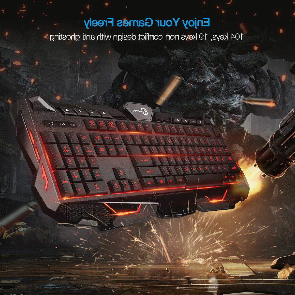 Backlit Gaming Keyboard 3 Colors LED Gamer USB